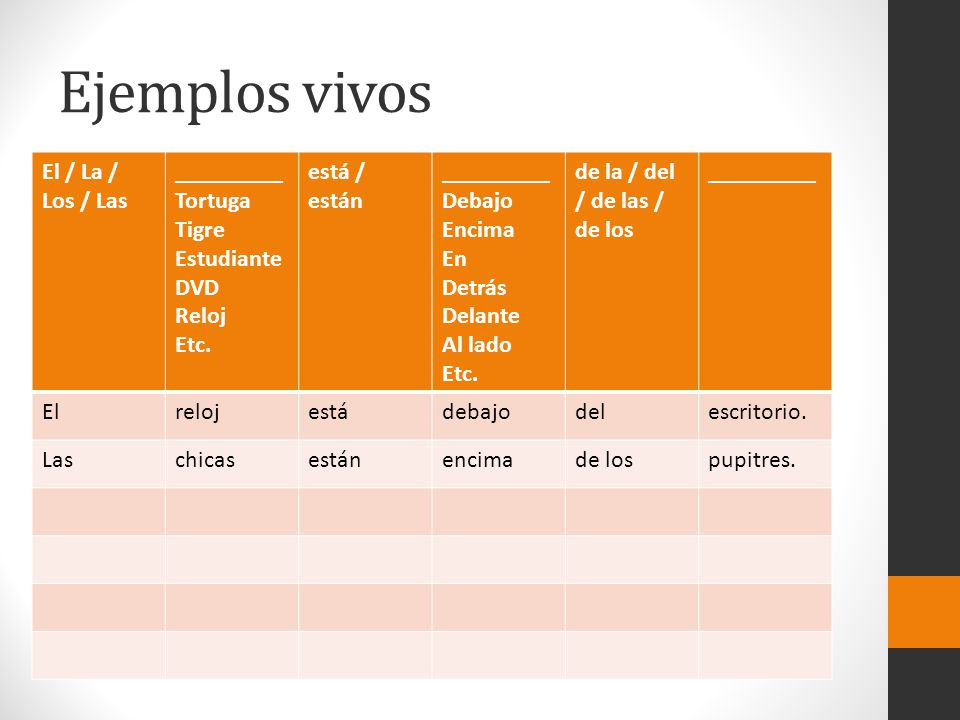 Ejemplos vivos El / La / Los / Las _________ Tortuga Tigre Estudiante