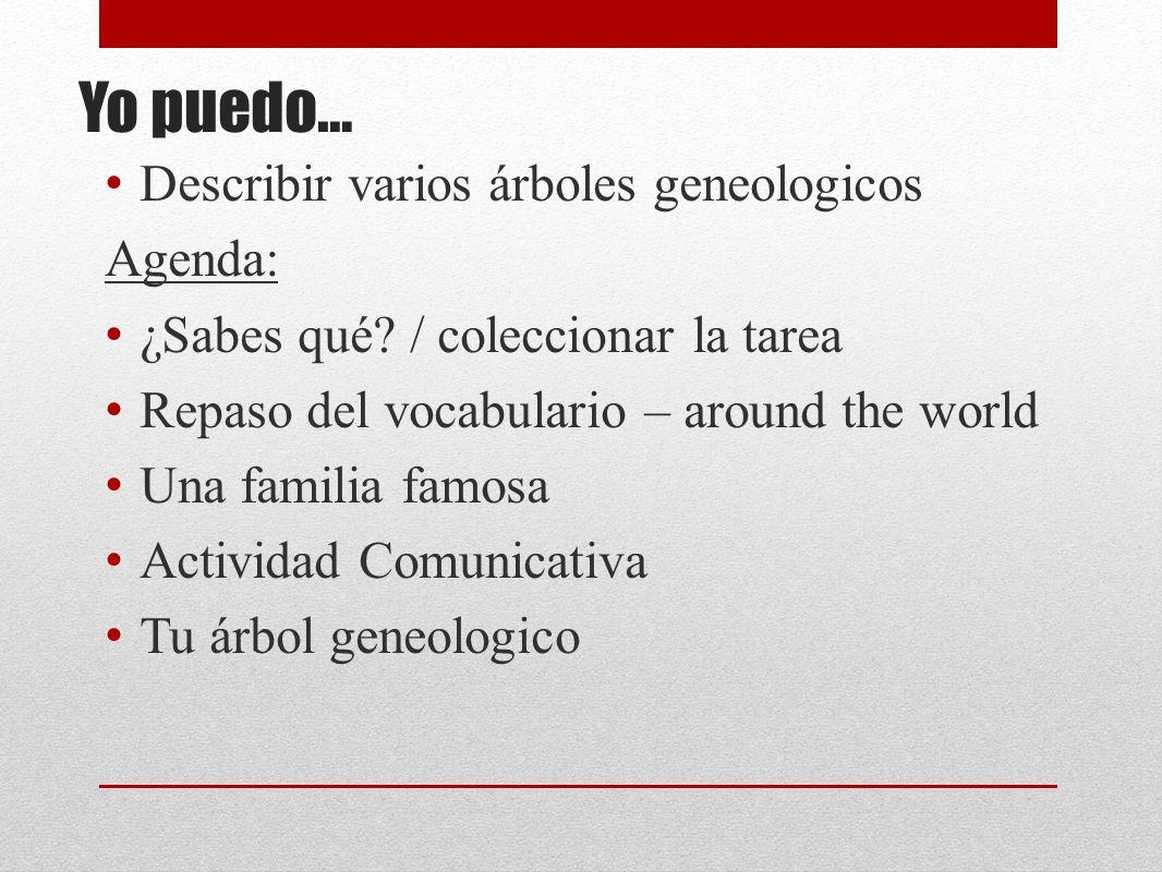 Yo puedo… Describir varios árboles geneologicos Agenda: