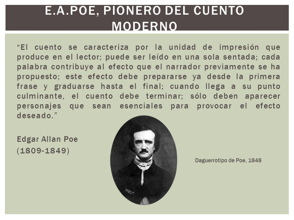 E.A.POE, PIONERO DEL CUENTO MODERNO