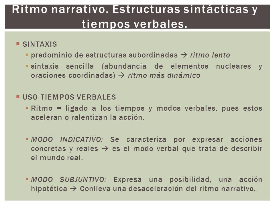 Ritmo narrativo. Estructuras sintácticas y tiempos verbales.