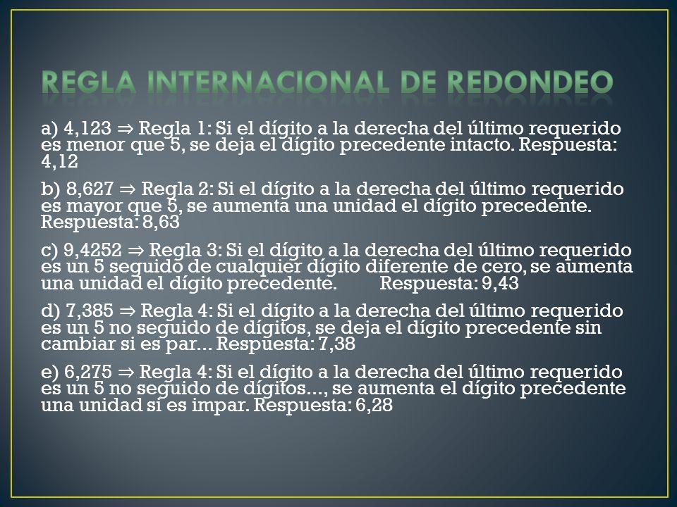 Regla Internacional de redondeo