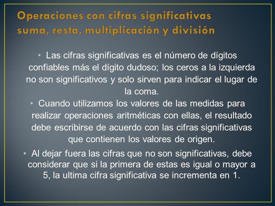 Operaciones con cifras significativas suma, resta, multiplicación y división