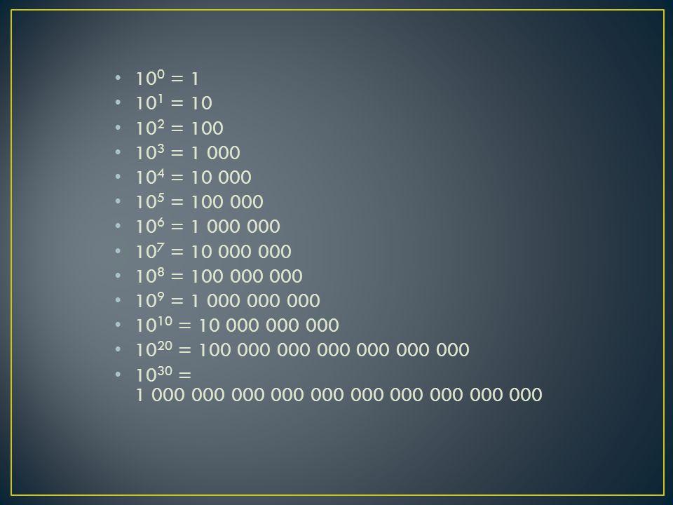 100 = 1 101 = 10. 102 = 100. 103 = 1 000. 104 = 10 000. 105 = 100 000. 106 = 1 000 000. 107 = 10 000 000.