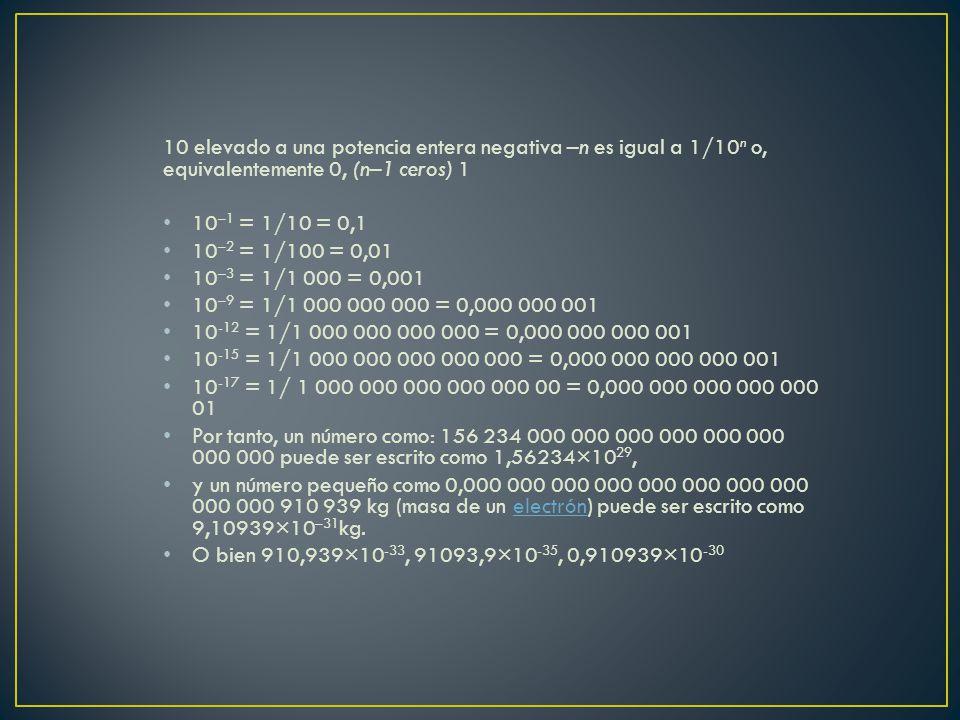 10 elevado a una potencia entera negativa –n es igual a 1/10n o, equivalentemente 0, (n–1 ceros) 1
