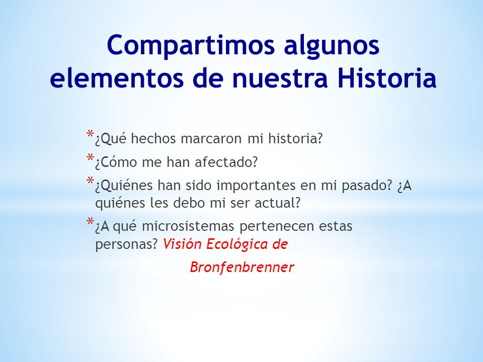 Compartimos algunos elementos de nuestra Historia