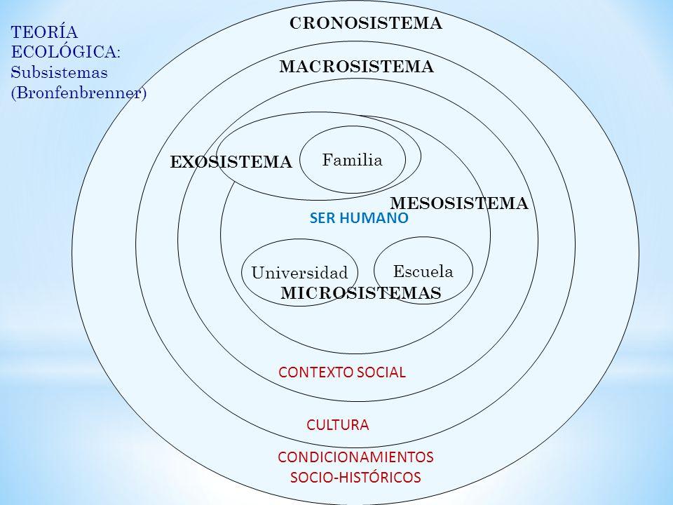 CRONOSISTEMA TEORÍA ECOLÓGICA: Subsistemas. (Bronfenbrenner) MACROSISTEMA. Familia. EXOSISTEMA.
