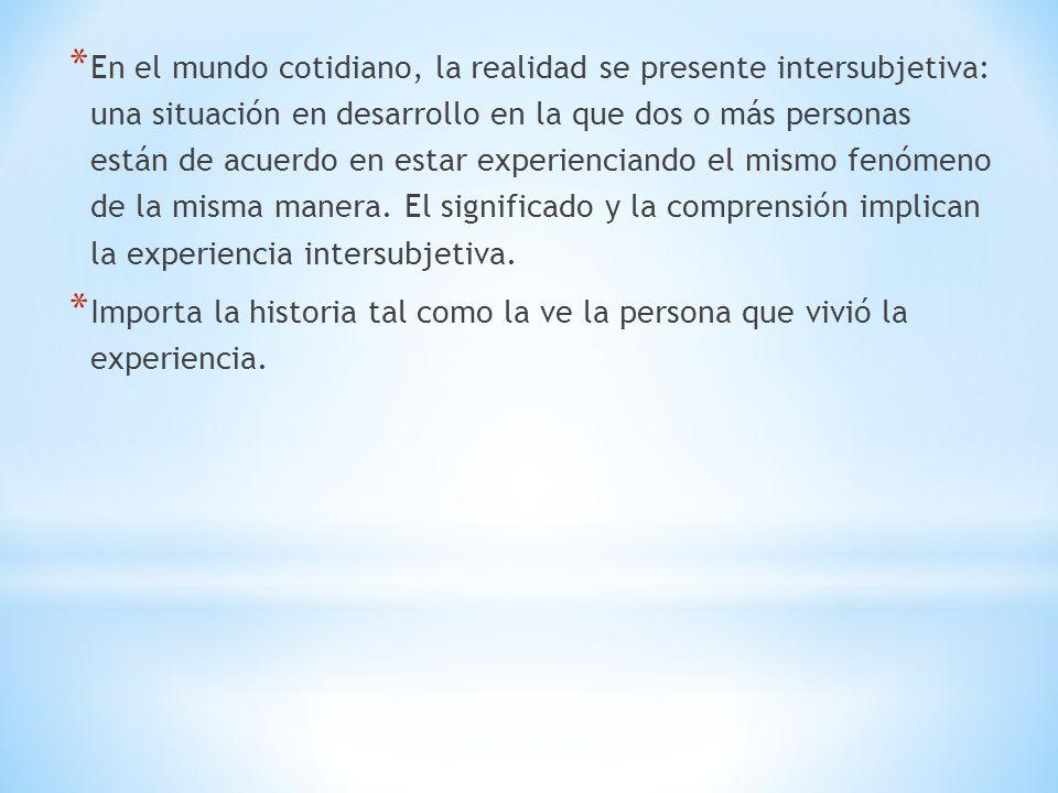 En el mundo cotidiano, la realidad se presente intersubjetiva: una situación en desarrollo en la que dos o más personas están de acuerdo en estar experienciando el mismo fenómeno de la misma manera. El significado y la comprensión implican la experiencia intersubjetiva.