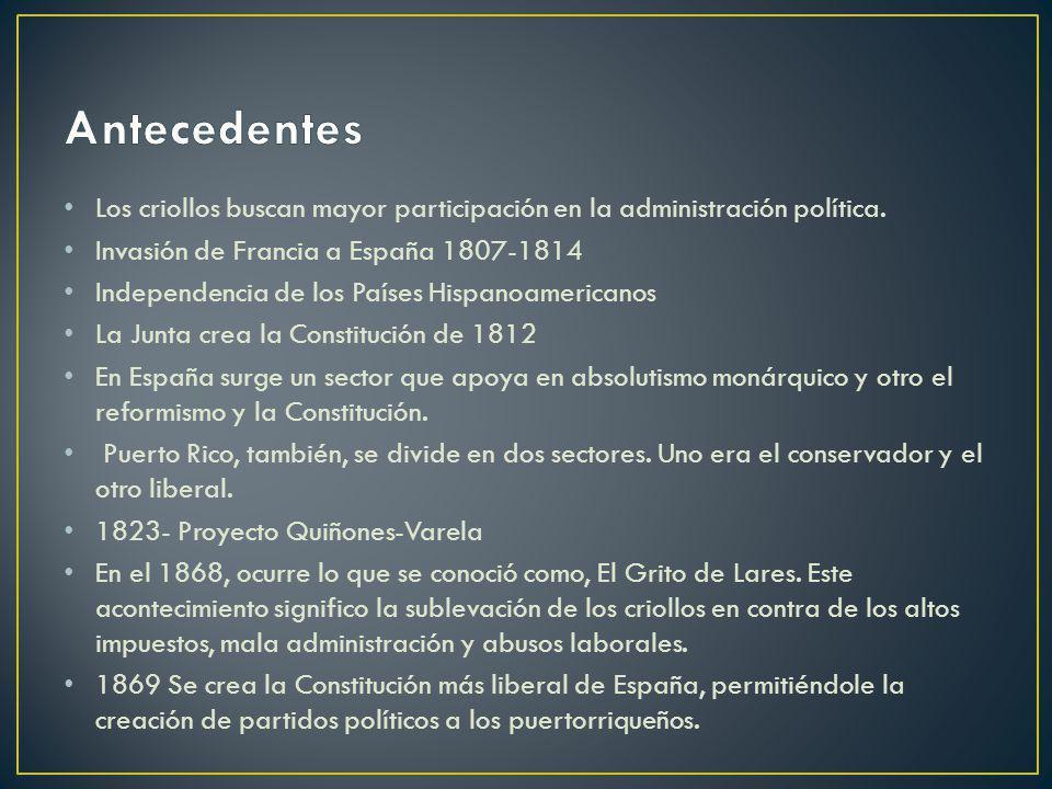 Antecedentes Los criollos buscan mayor participación en la administración política. Invasión de Francia a España 1807-1814.