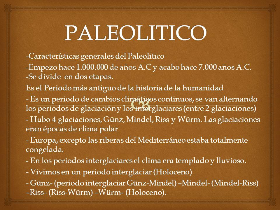 PALEOLITICO -Características generales del Paleolítico