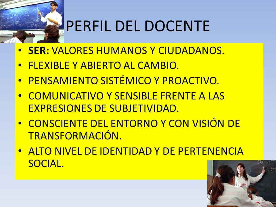 PERFIL DEL DOCENTE SER: VALORES HUMANOS Y CIUDADANOS.