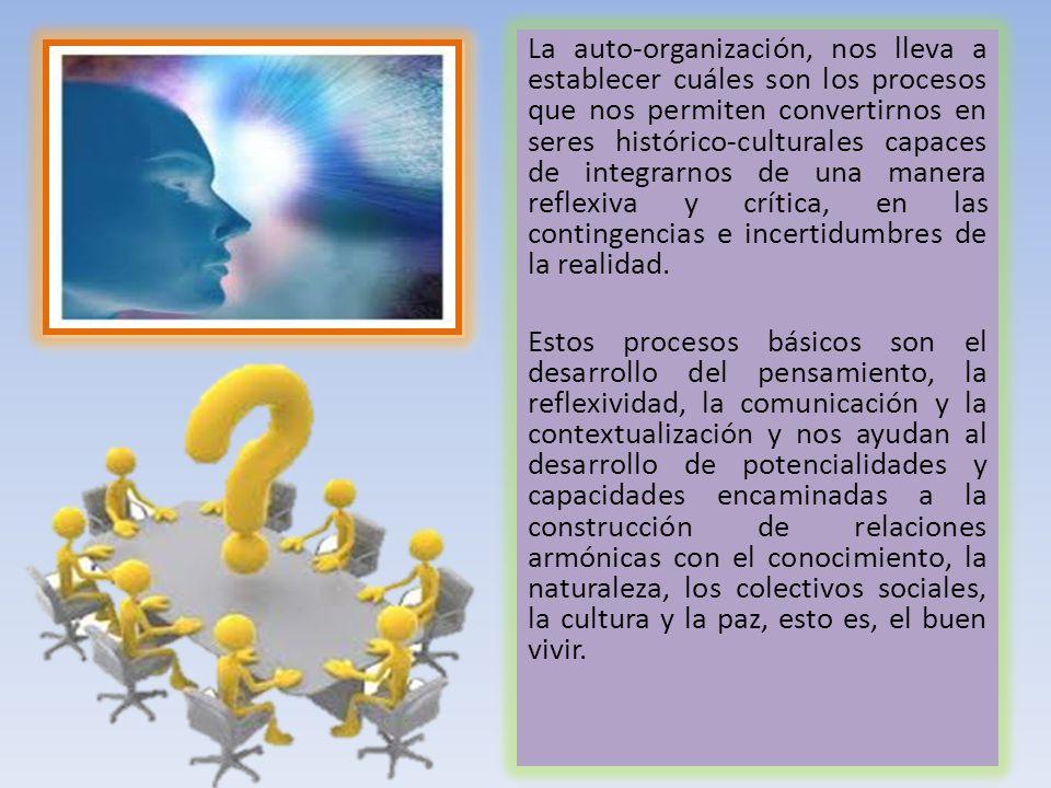 La auto-organización, nos lleva a establecer cuáles son los procesos que nos permiten convertirnos en seres histórico-culturales capaces de integrarnos de una manera reflexiva y crítica, en las contingencias e incertidumbres de la realidad.
