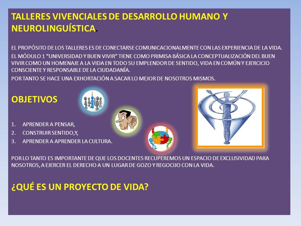 TALLERES VIVENCIALES DE DESARROLLO HUMANO Y NEUROLINGUÍSTICA.