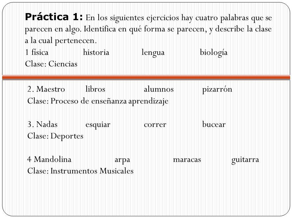 Práctica 1: En los siguientes ejercicios hay cuatro palabras que se parecen en algo. Identifica en qué forma se parecen, y describe la clase a la cual pertenecen.
