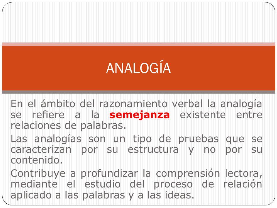 ANALOGÍA En el ámbito del razonamiento verbal la analogía se refiere a la semejanza existente entre relaciones de palabras.