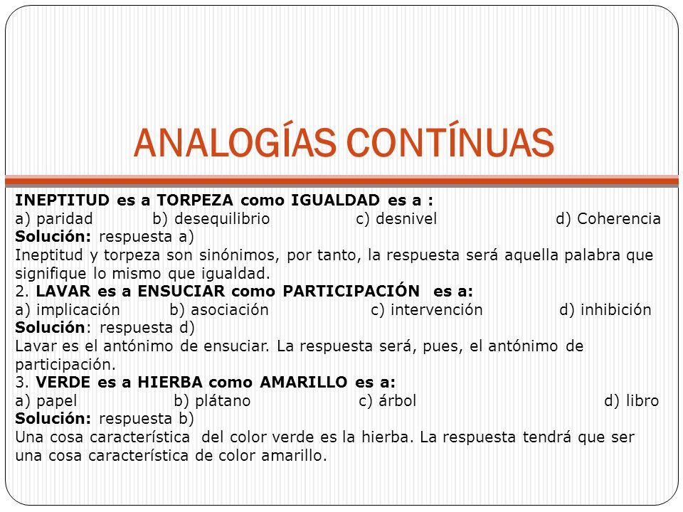 ANALOGÍAS CONTÍNUAS INEPTITUD es a TORPEZA como IGUALDAD es a :