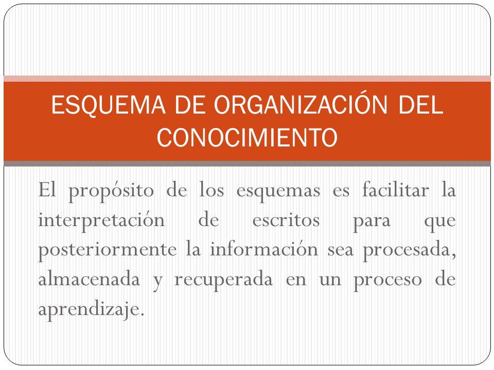 ESQUEMA DE ORGANIZACIÓN DEL CONOCIMIENTO
