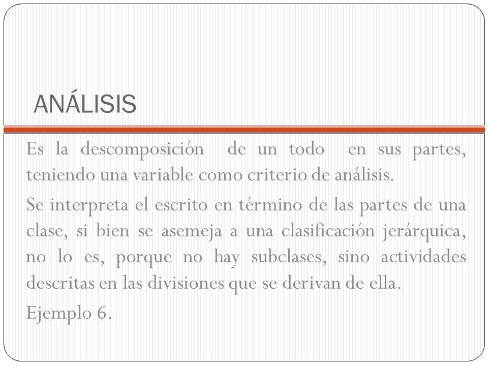 ANÁLISIS Es la descomposición de un todo en sus partes, teniendo una variable como criterio de análisis.