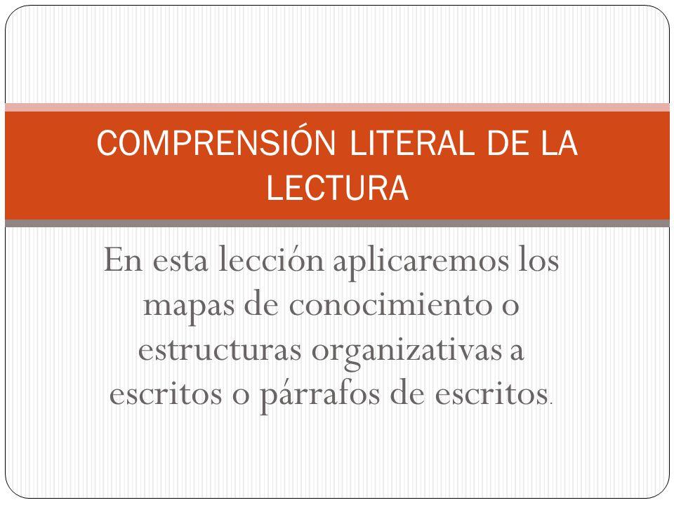 COMPRENSIÓN LITERAL DE LA LECTURA