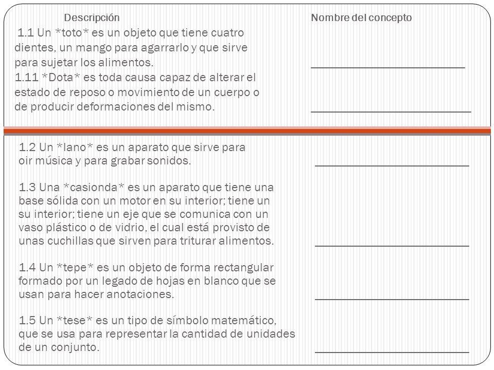 Descripción. Nombre del concepto 1. 1 Un. toto