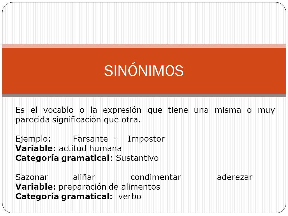 SINÓNIMOS Es el vocablo o la expresión que tiene una misma o muy parecida significación que otra. Ejemplo: Farsante - Impostor.