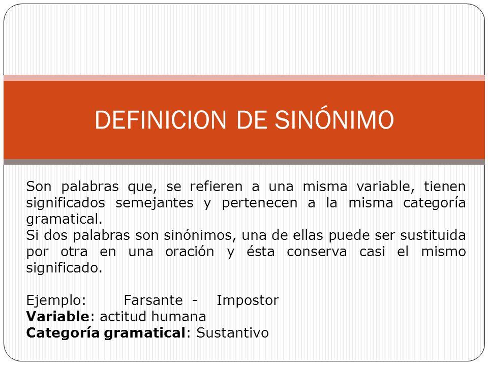 DEFINICION DE SINÓNIMO