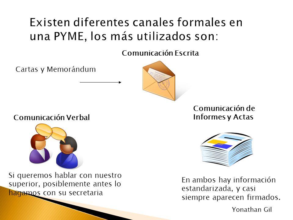 Existen diferentes canales formales en una PYME, los más utilizados son: