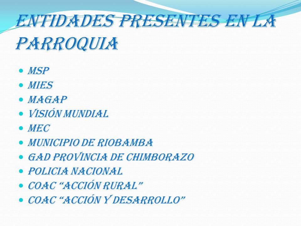 ENTIDADES PRESENTES EN LA PARROQUIA
