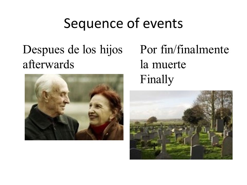 Sequence of events Despues de los hijos afterwards Por fin/finalmente