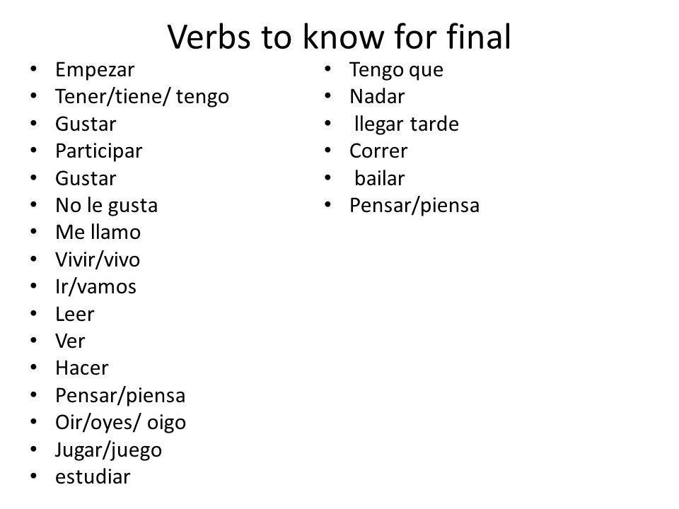 Verbs to know for final Empezar Tener/tiene/ tengo Gustar Participar