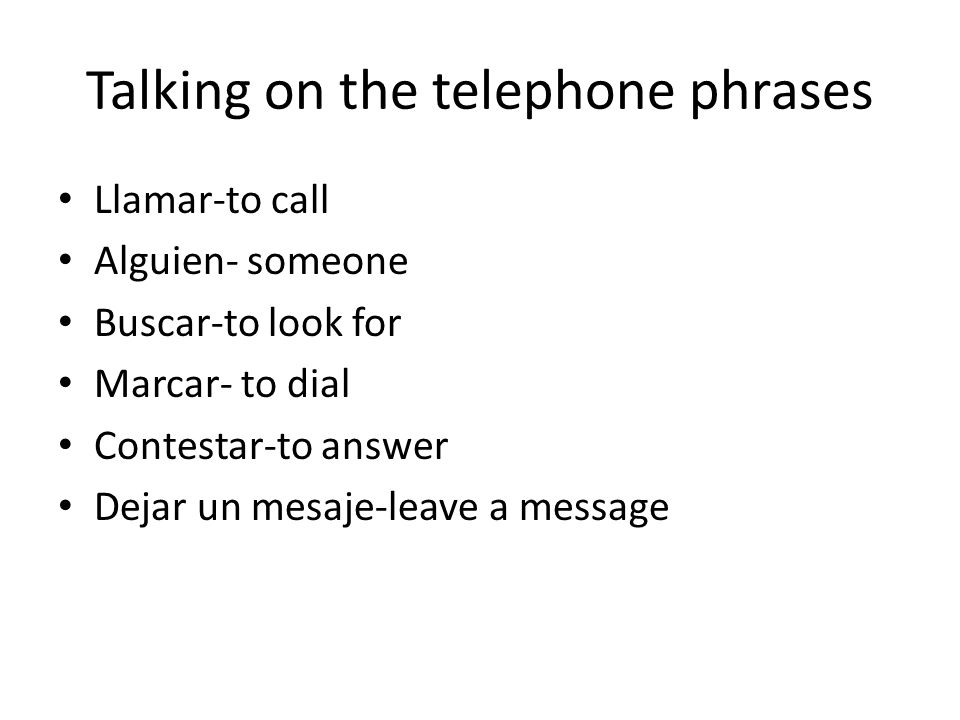 Talking on the telephone phrases
