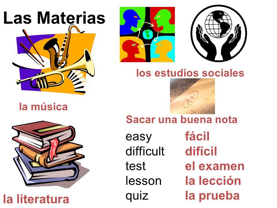 Las Materias easy difficult test lesson quiz fácil difícil el examen