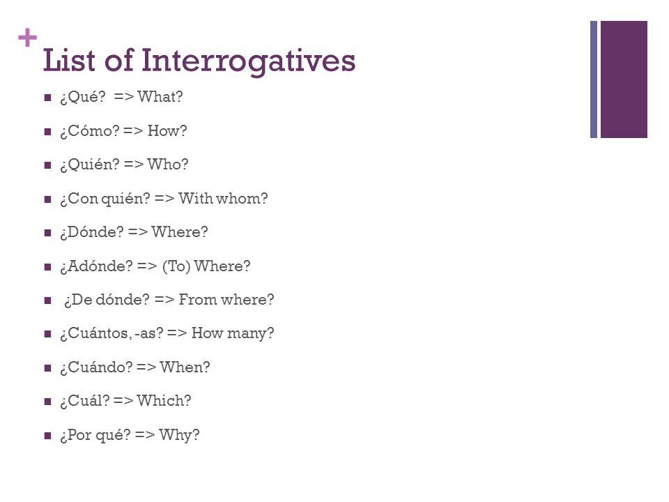 List of Interrogatives