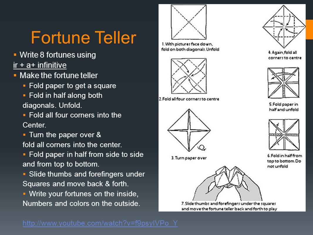 Fortune Teller Write 8 fortunes using ir + a+ infinitive