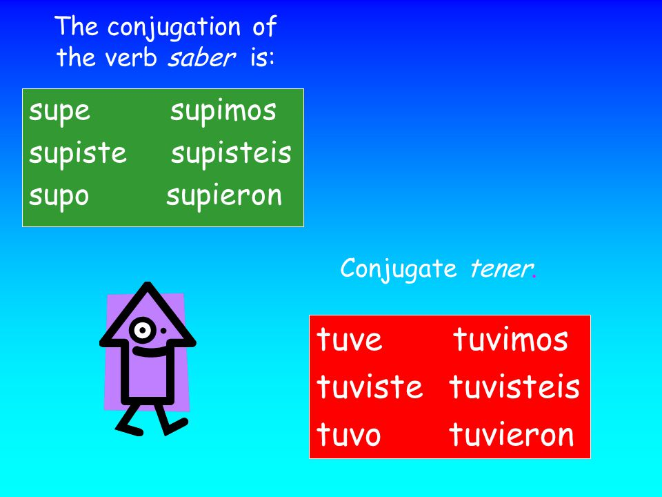 The conjugation of the verb saber is: