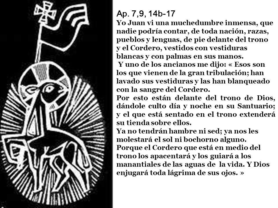 Ap. 7,9, 14b-17 Yo Juan vi una muchedumbre inmensa, que nadie podría contar, de toda nación, razas, pueblos y lenguas, de pie delante del trono y el Cordero, vestidos con vestiduras blancas y con palmas en sus manos. Y uno de los ancianos me dijo: « Esos son los que vienen de la gran tribulación; han lavado sus vestiduras y las han blanqueado con la sangre del Cordero.
