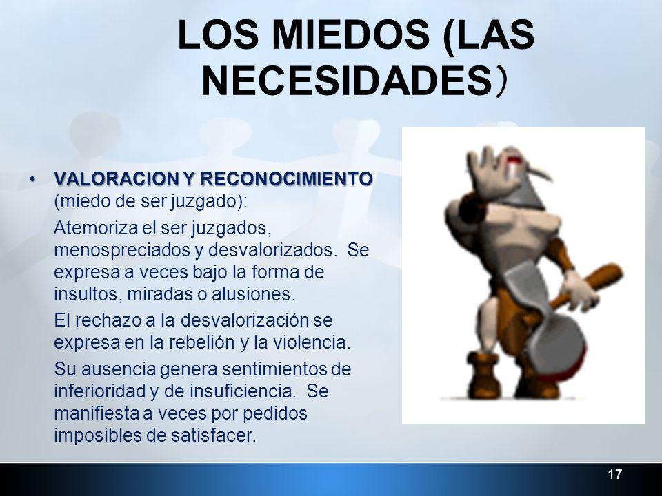 LOS MIEDOS (LAS NECESIDADES)