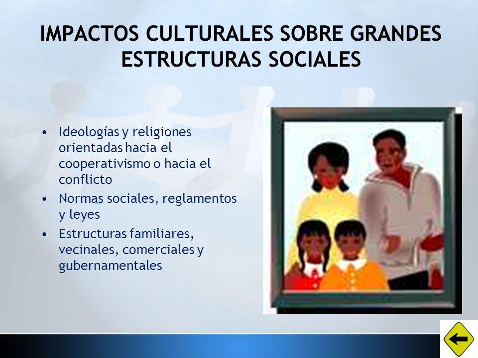 IMPACTOS CULTURALES SOBRE GRANDES ESTRUCTURAS SOCIALES