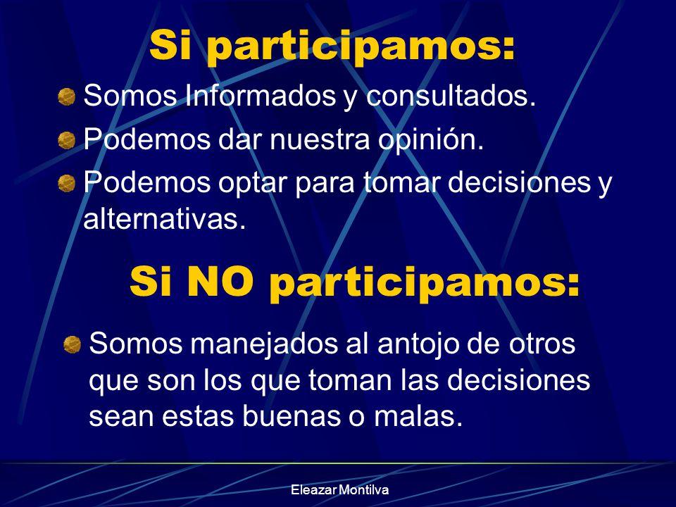 Si participamos: Si NO participamos: Somos Informados y consultados.