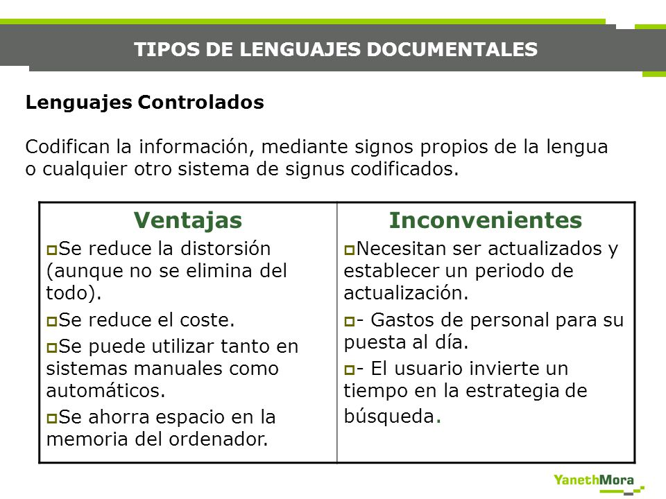 TIPOS DE LENGUAJES DOCUMENTALES