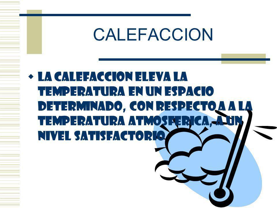 CALEFACCION LA CALEFACCION ELEVA LA TEMPERATURA EN UN ESPACIO DETERMINADO, CON RESPECTO A A LA TEMPERATURA ATMOSFERICA, A UN NIVEL SATISFACTORIO.