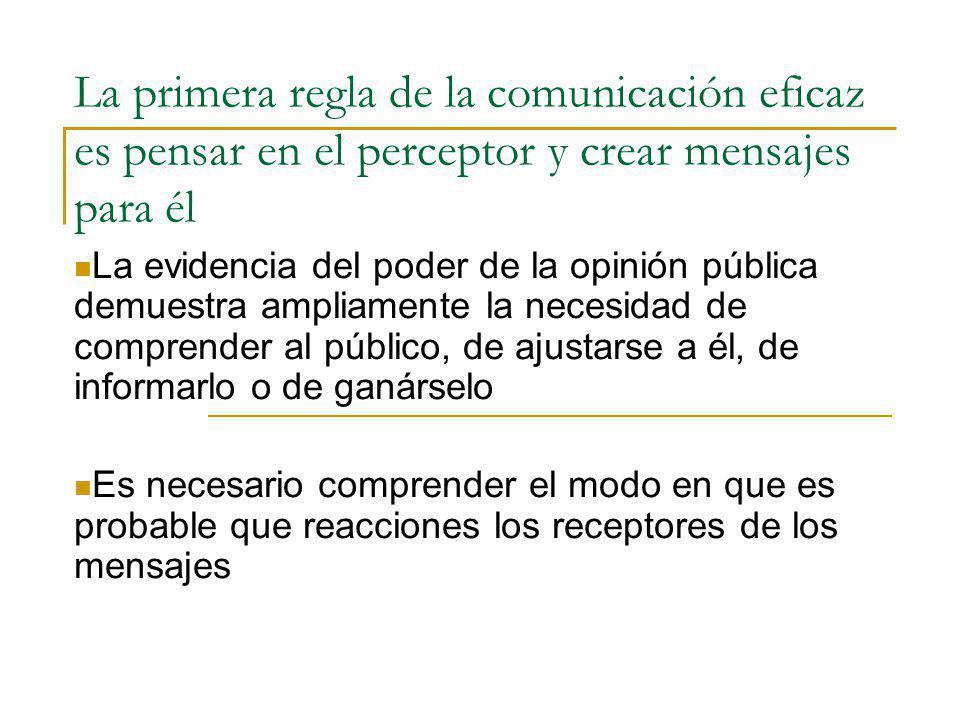 La primera regla de la comunicación eficaz es pensar en el perceptor y crear mensajes para él