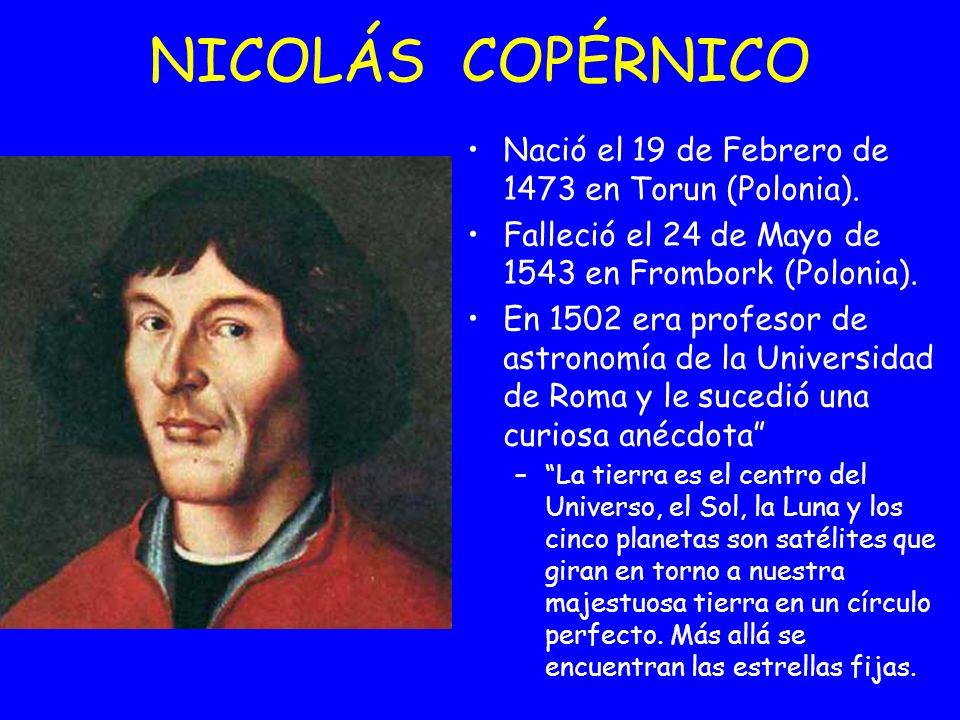 NICOLÁS COPÉRNICO Nació el 19 de Febrero de 1473 en Torun (Polonia).