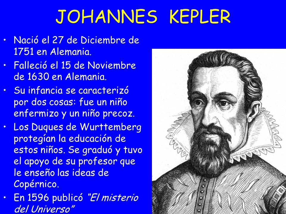 JOHANNES KEPLER Nació el 27 de Diciembre de 1751 en Alemania.