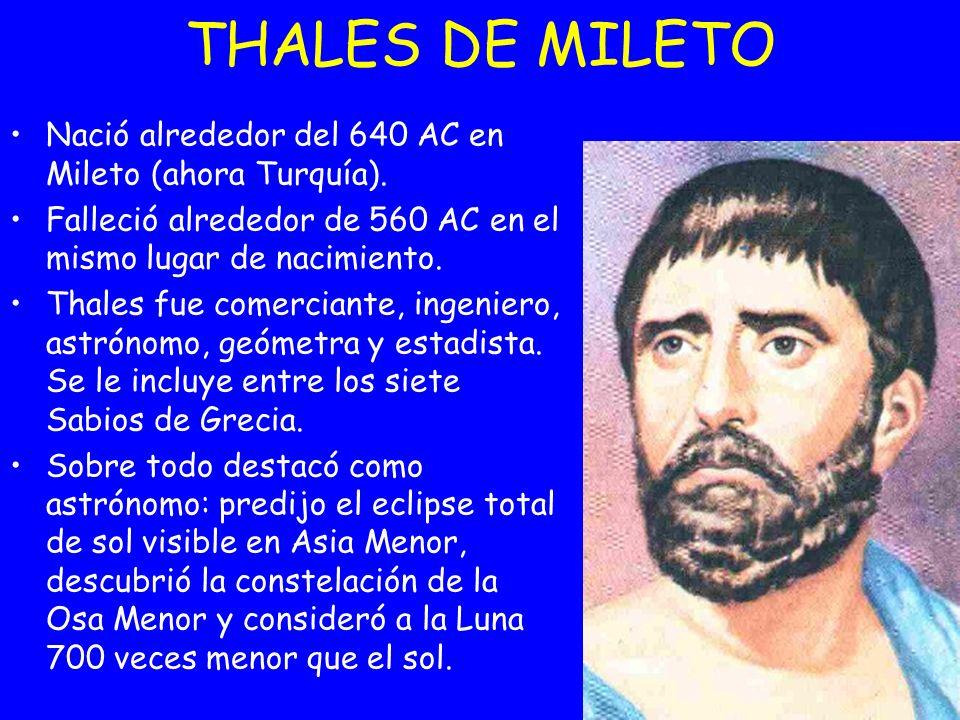 THALES DE MILETO Nació alrededor del 640 AC en Mileto (ahora Turquía).