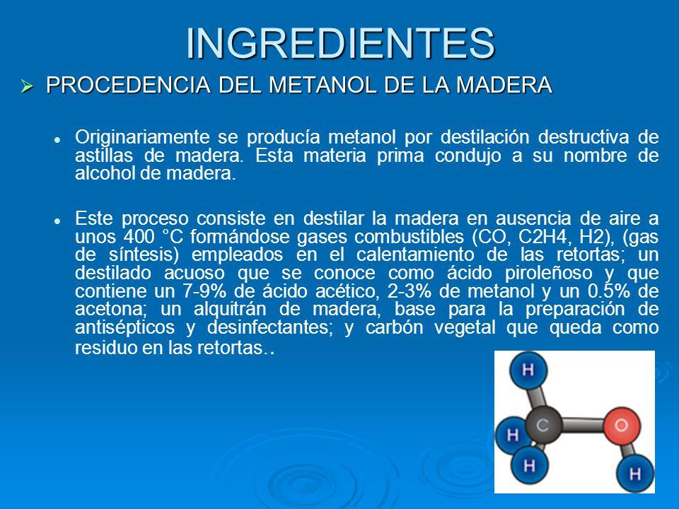 INGREDIENTES PROCEDENCIA DEL METANOL DE LA MADERA