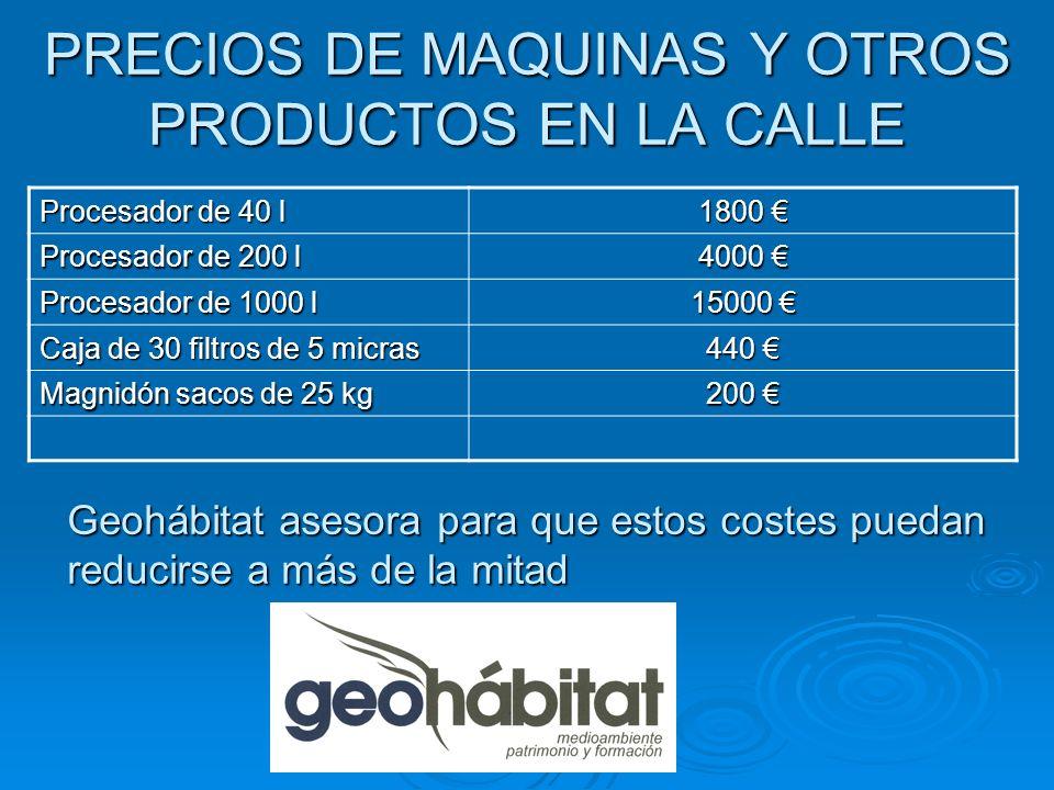 PRECIOS DE MAQUINAS Y OTROS PRODUCTOS EN LA CALLE