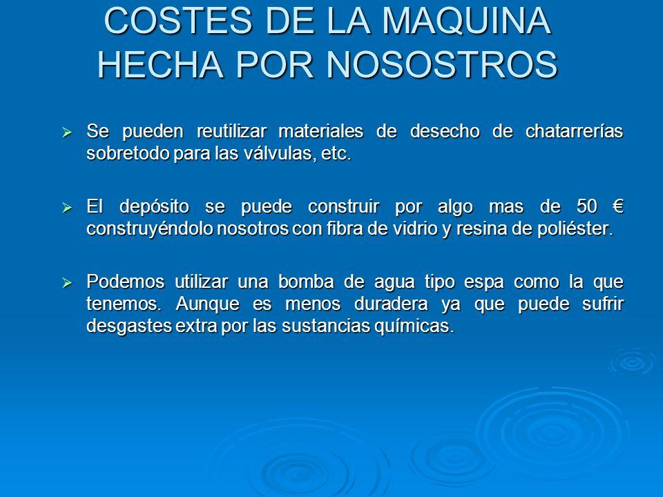COSTES DE LA MAQUINA HECHA POR NOSOSTROS
