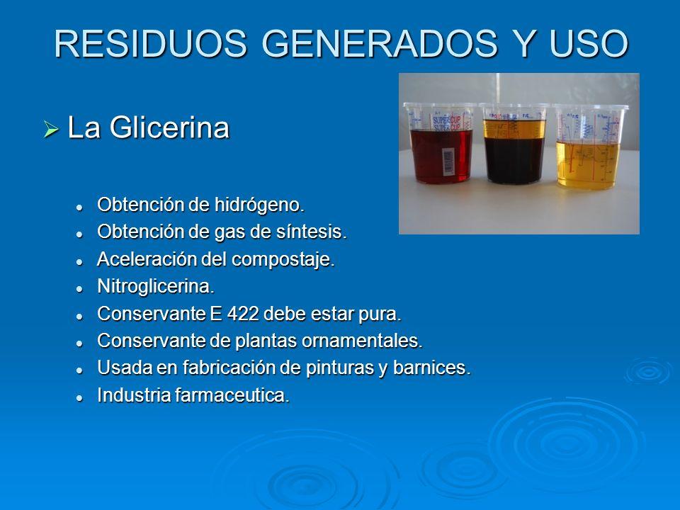RESIDUOS GENERADOS Y USO