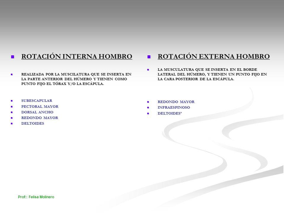 ROTACIÓN INTERNA HOMBRO ROTACIÓN EXTERNA HOMBRO