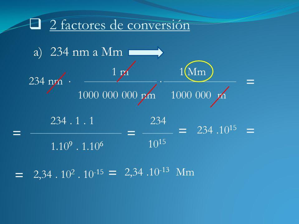 2 factores de conversión